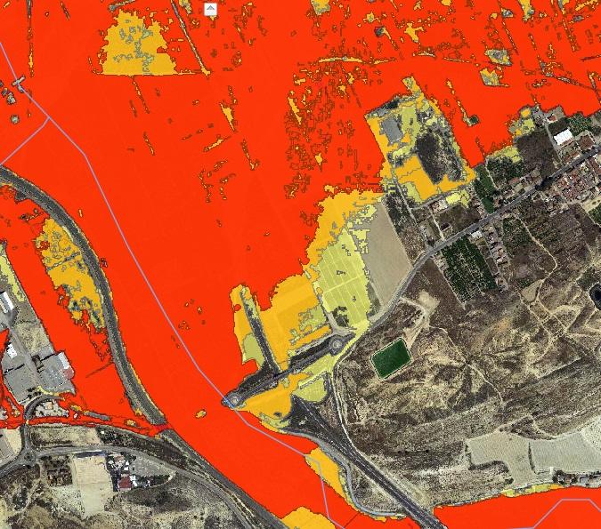 Boquera de Tabala. Mapa de zonas inundables. Imagen cedida por Huerta Viva