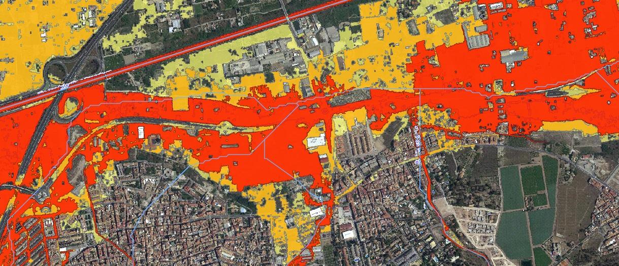 Costera Sur. mapa de zonas inundables. Imagen cedida por Huerta Viva
