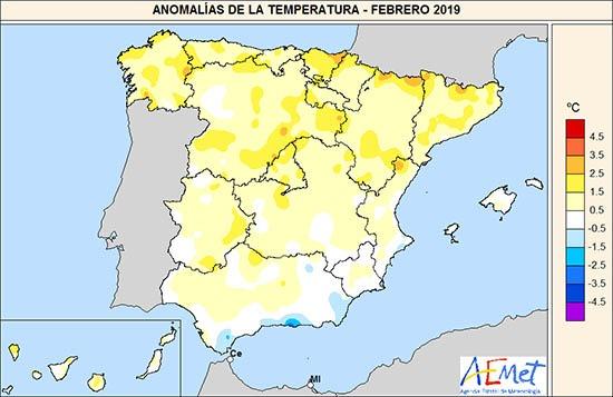 Mapa de anomalías de la temperatura de febrero en España. Imagen: Miteco