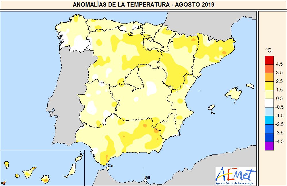 Anomalía de las temperaturas medias en agosto respecto al período de referencia 1981-2010. Imagen: Aemet / Miteco