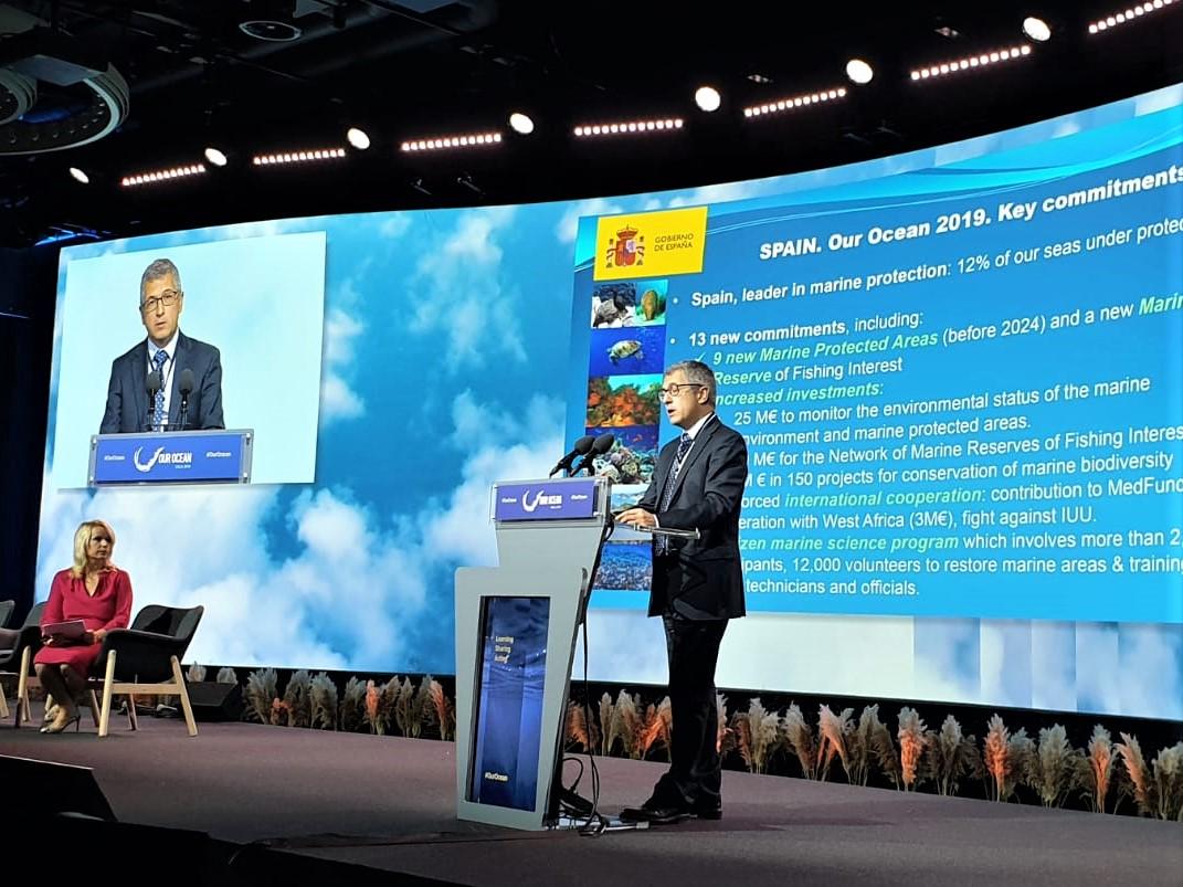 Hugo Morán, durante su intervención en la Conferencia internacional 'Our Ocean', Imagen: Miteco