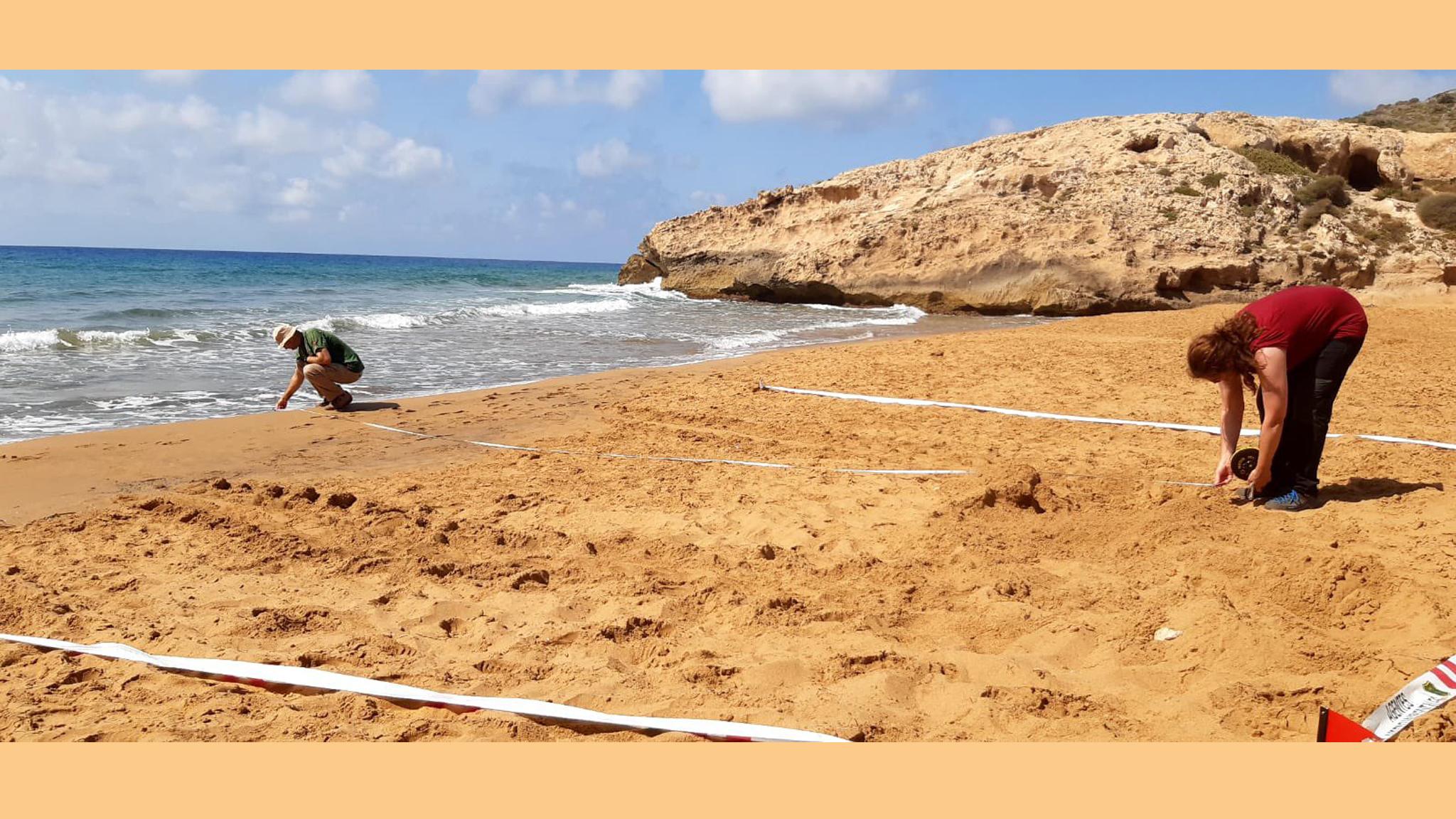 Señales en la arena, investigadas esta misma mañana. Imagen: CARM