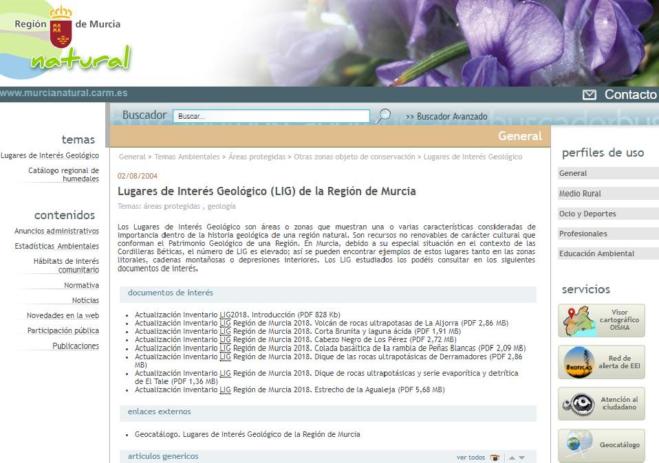Listado de los 14 nuevos LIG. Imagen CARM