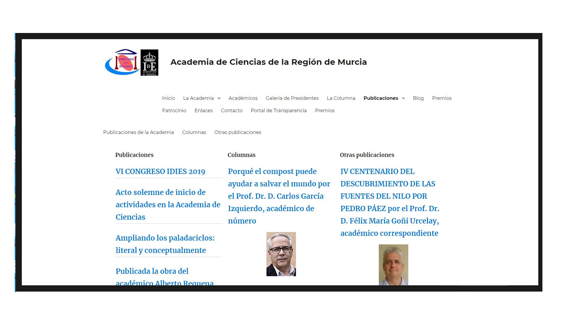 Pantallazo de la página web de la Academia de Ciencias de la Región de Murcia