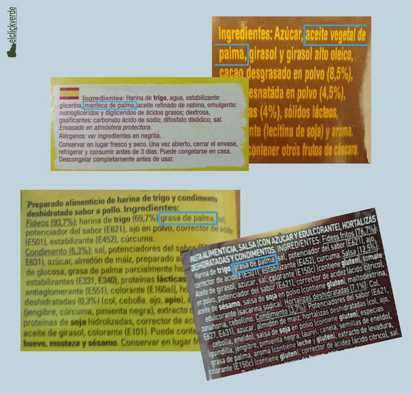 Algunas etiquetas de productos que incluyen aceite de palma.