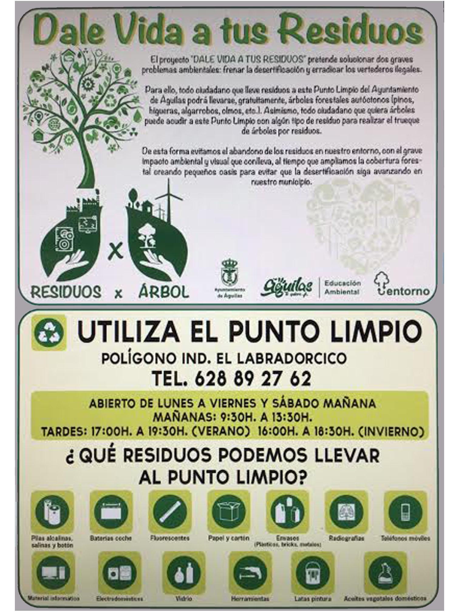 Cartel informativo sobre el Punto Limpio y la campaña 'Dale vida a tus residuos'. Imagen: Ayto. de Águilas