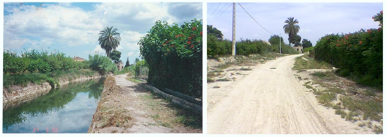 Comparativa de la Aljufía a cielo abierto y con el actual entubado. Imagen: Huerta Viva