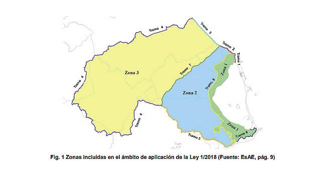 Zonas incluidas en el ámbito de aplicación de la Ley 1/2018 (Fuente: EsAE, pág. 9) . Extraído del BORM