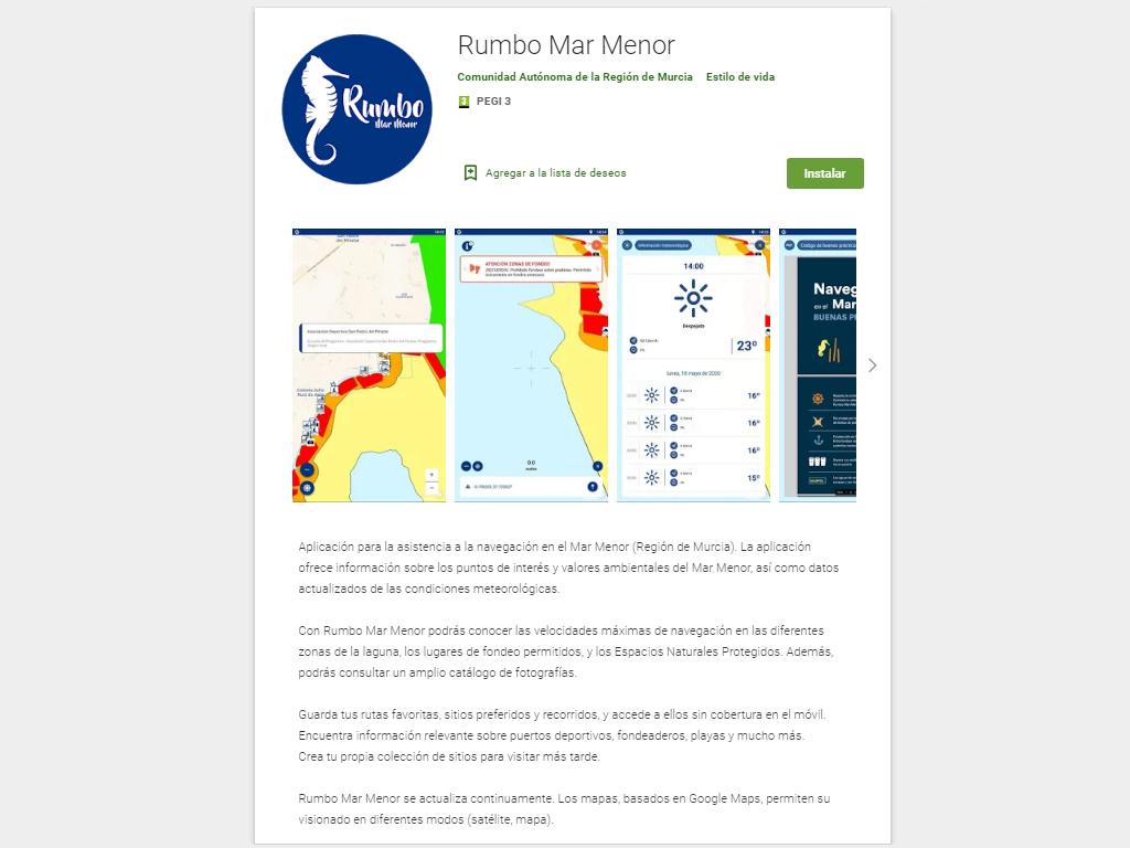Imagen de la nueva app 'Rumbo Mar Menor'