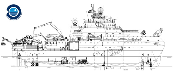 Boceto del buque oceanográfico multidisciplinar, que tendrá una eslora superior a los 80 metros. Imagen: IEO