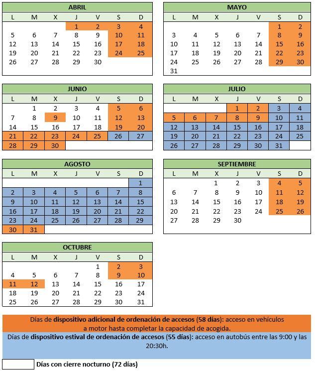 Calendario de acceso a Calblanque. Imagen: CARM