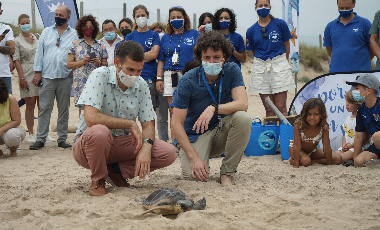 Sergi Campillo, concejal Ecología Urbana y vicealcalde del Ayto. de Valencia, suelta una de las tortugas junto a J. Luís Crespo, responsable conservación de la Fundación Oceanogràfic. Imagen: Fundación Oceanogràfic
