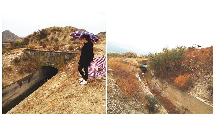Aspecto de un par de tramos del Canal de Aguas Claras observados durante su revisión. Imágenes: CARM