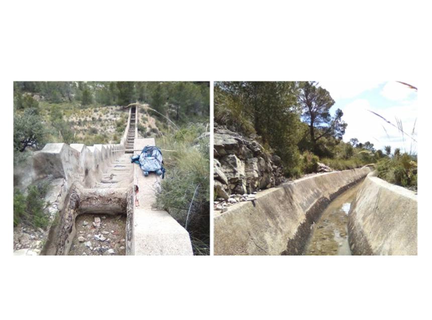 Fotografías de dos partes del tramo Los Chillíos, una formada por escalones y otra que transcurre a ras de tierra donde las tortugas pueden entrar por accidente. Imagen: CARM