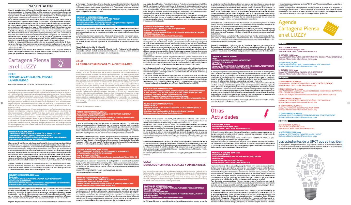 Programación de octubre a diciembre de Cartagena Piensa Hoja 1.