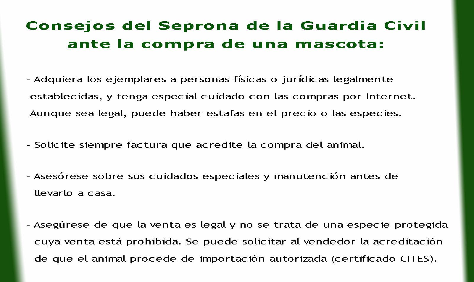Consejos del Seprona de la Guardia Civil ante la compra de una mascota.