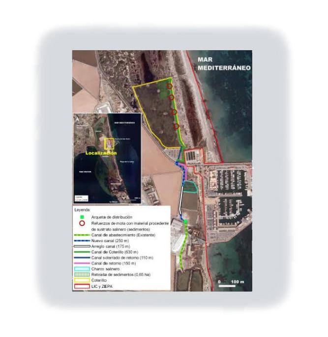Mapa de localización de las actuaciones a realizar en la charca del Coterillo. Imagen: CARM