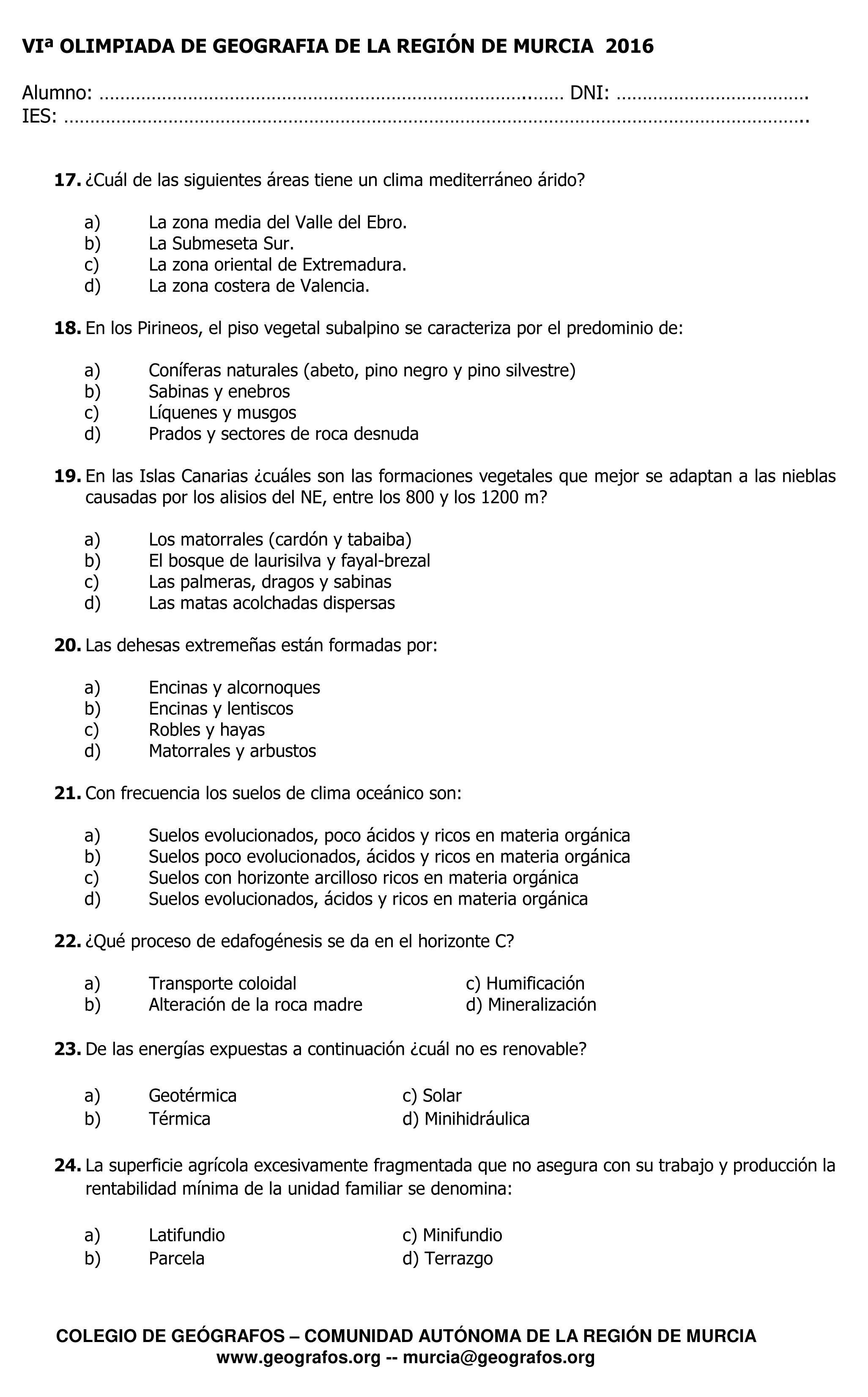Cuestiones de la VI Olimpiada de Geografía Región de Murcia 2016 - 3