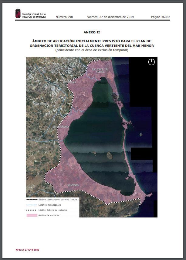 Ámbito de aplicación inicialmente previsto para el Plan de Ordenación Territorial de la cuenca vertiente del Mar Menor (coincidente con el Área de exclusión temporal). Extraído del Decreto Ley