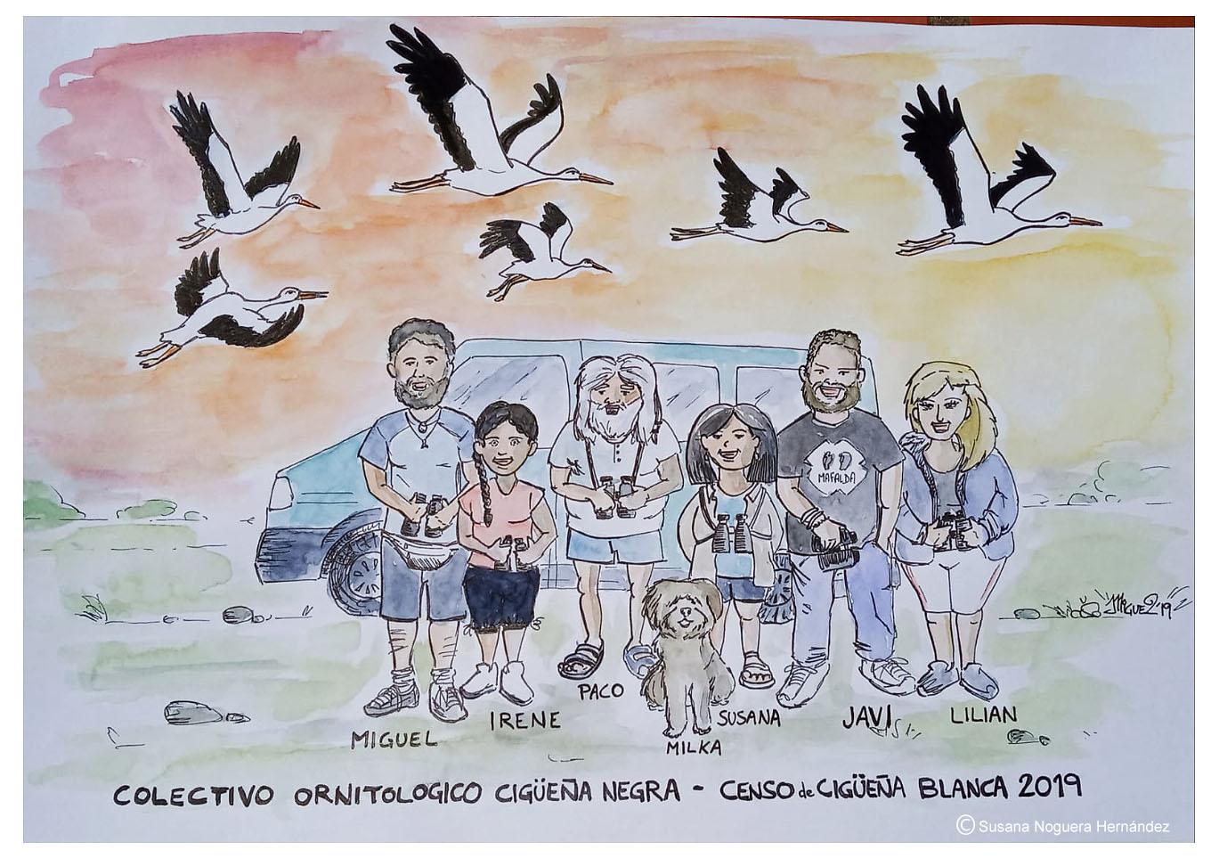 Dibujo del equipo de voluntarios realizado por uno de ellos, Miguel. Imagen: Susana Noguera Hernández