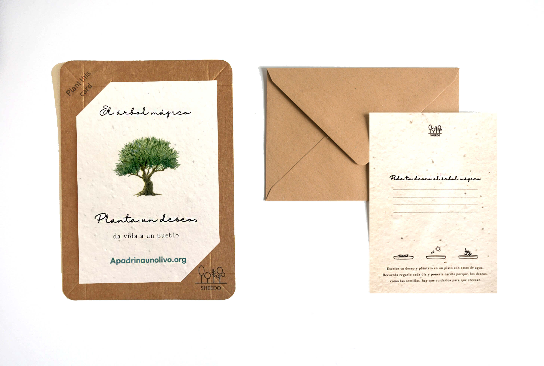La original carta que se puede sembrar de Apadrina un olivo. Imagen: apadrina un olivo