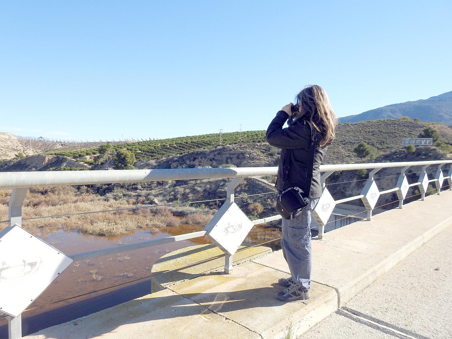 Un momento de la observación, prismáticos en mano. Imagen: Susana Noguera