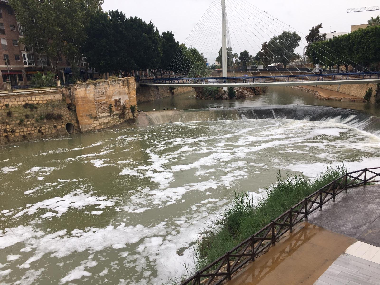 Espumas blancas en las aguas del río Segura, ayer, en la capital murciana . Imagen: Huermur