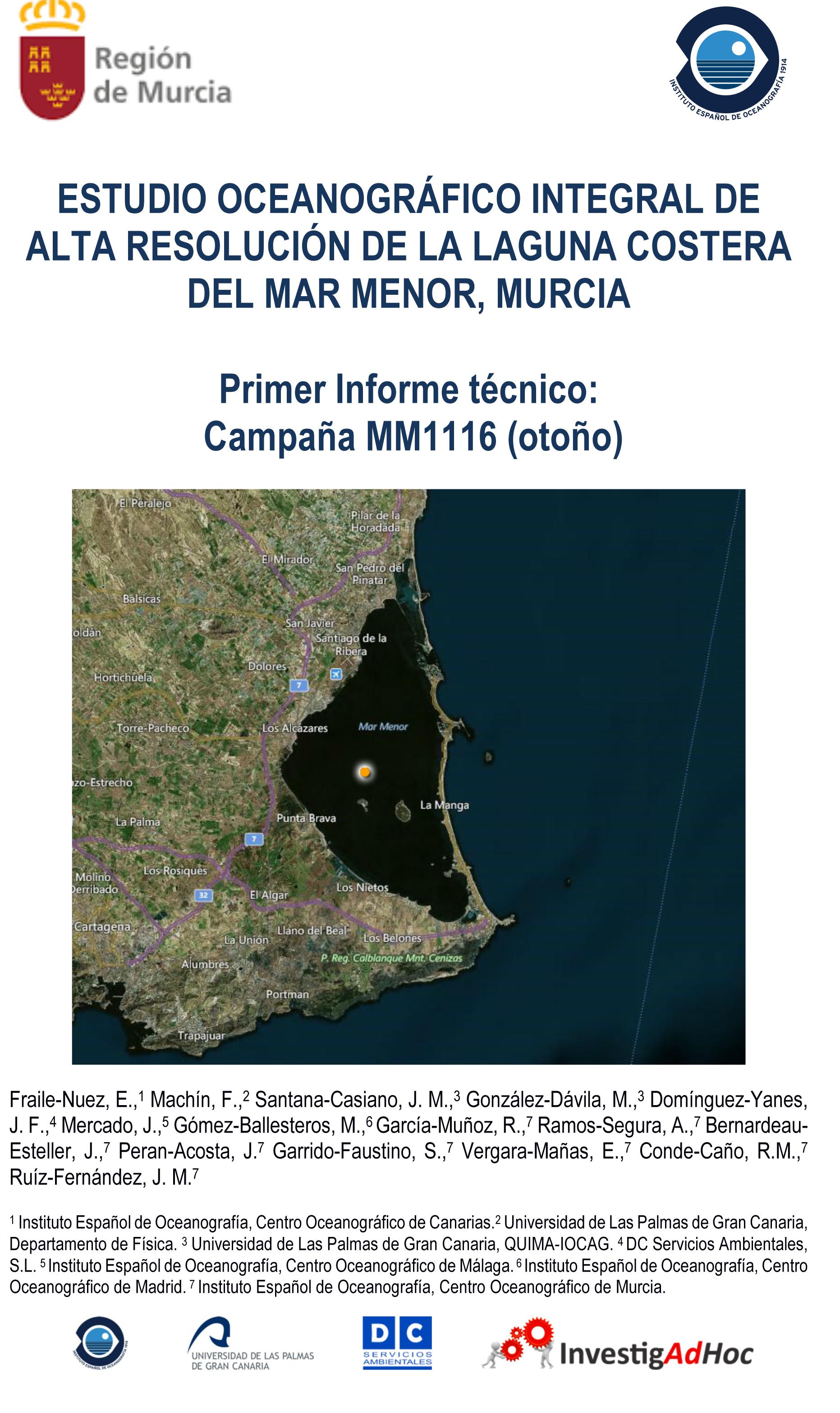 Portada del Estudio Oceanográfico Integral de Alta Resolución de la laguna Costera del Mar Menor