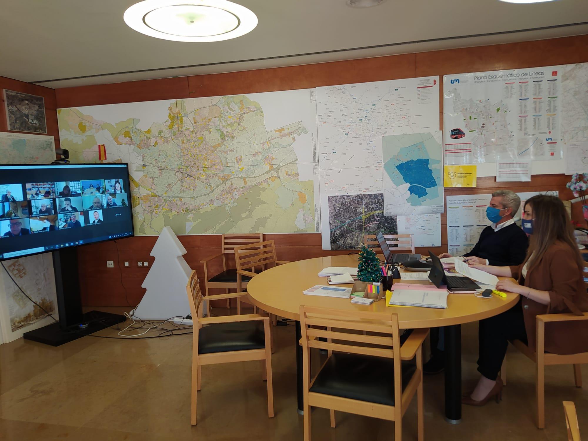 Un momento de la videoconferencia. Imagen: Ayto. de Murcia