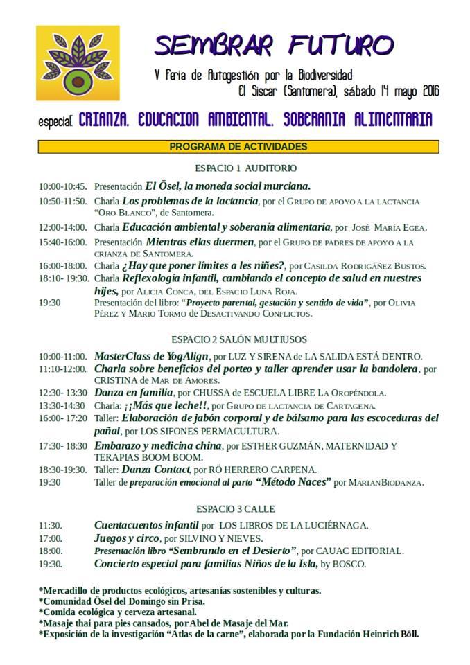 V Feria Sembrar Futuro. Programa