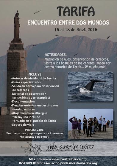 Excursión a Tarifa con Asociación Vida Silvestre Ibérica. Cartel