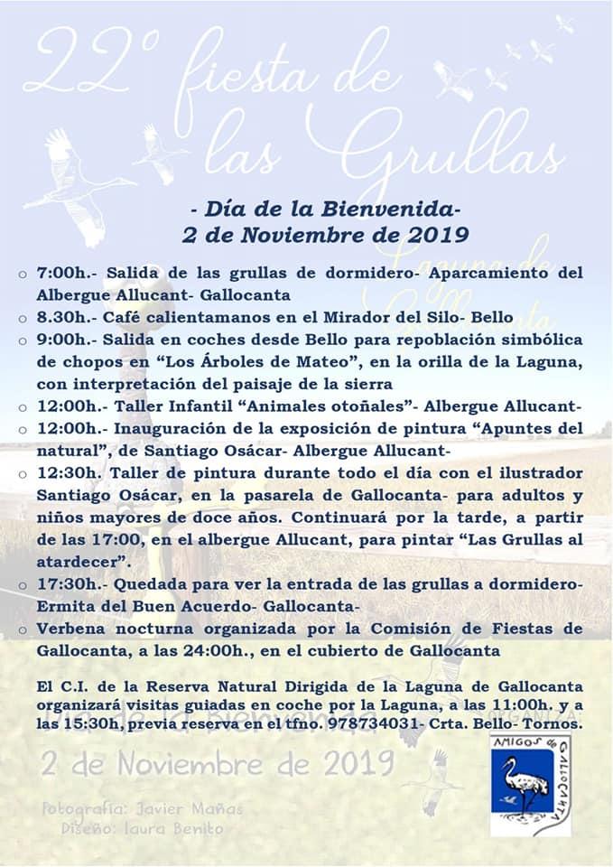 Programa de la 22 Fiesta de las grullas en Gallocanta, con Amigos de Gallocanta