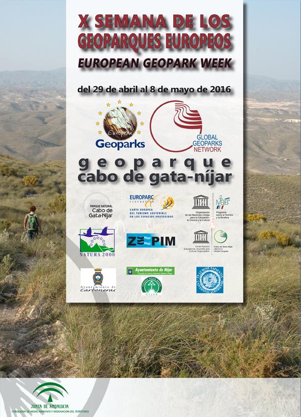 Cartel de la X Semana de los Geoparques Europeos en Cabo de Gata.