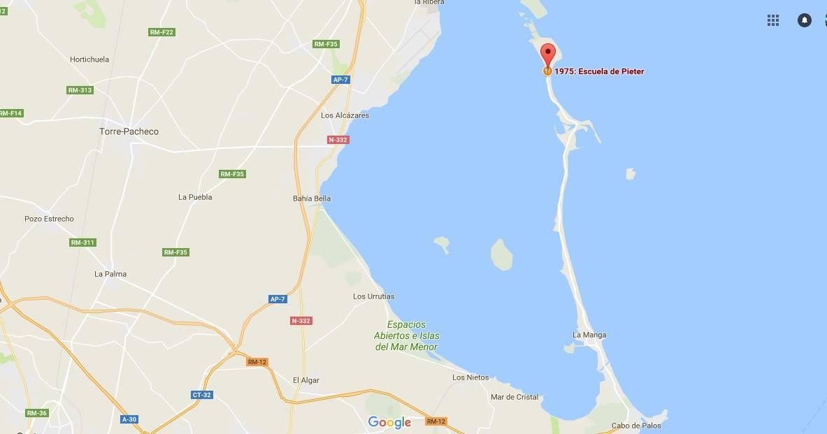 Mapa de localización de la actividad 'Conociendo los fondos del Mar Menor', con la asociación Hippocampus