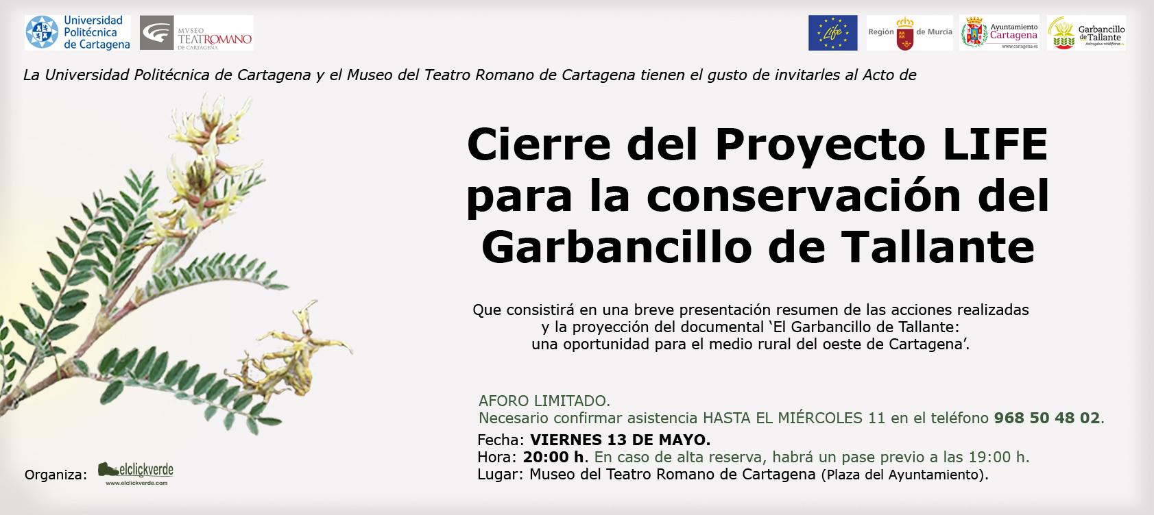 Invitacón al estreno del documental 'El Garbancillo de Tallante: una oportunidad para el medio rural del oeste de Cartagena'.