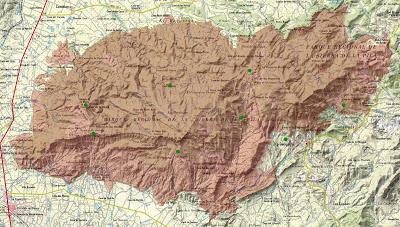 Mapa del Censo Invernal de Dormideros de Chova Piquirroja en la Sierra de La Pila, con Caramucel