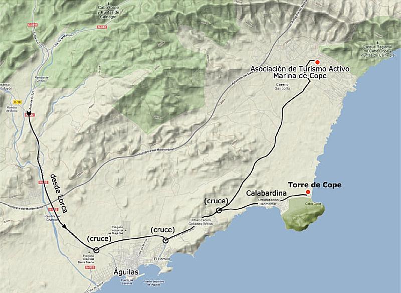 Mapa de la ruta senderista paisajística de la costa murciana con AMNI