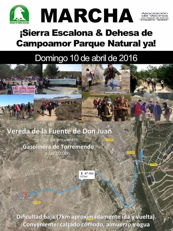 Marcha por la declaración de PN 'Sierra Escalona y la Dehesa de Campoamor', con ASE.