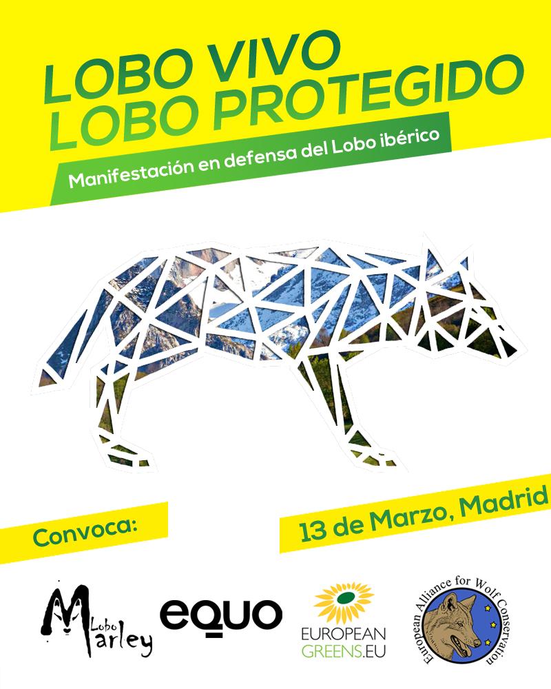 Cartel de la Manifestación en defensa del Lobo Ibérico.