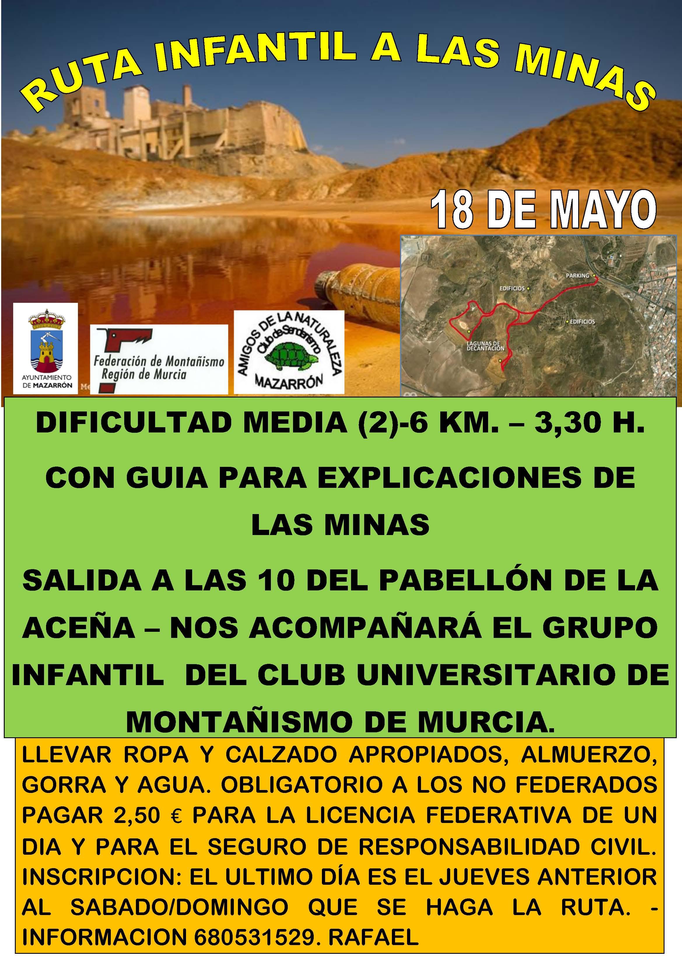 Cartel de la ruta infantil a las minas de Mazarrón