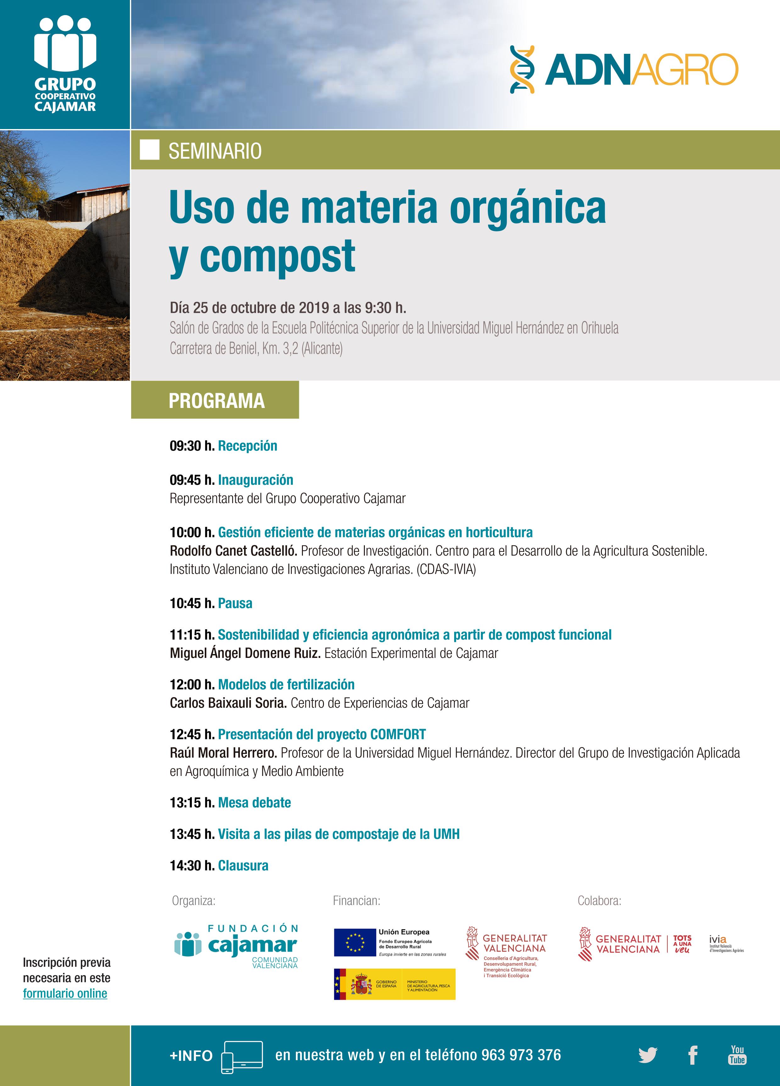 Seminario sobre el uso de materia orgánica y compost, con la Fundación Cajamar Comunidad Valenciana