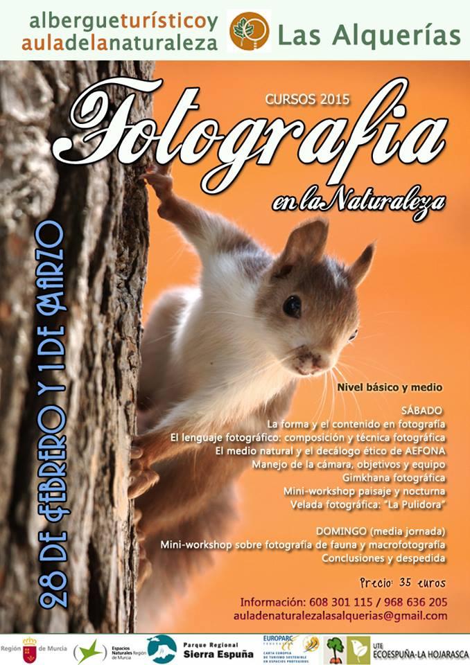 Cartel del Taller de Fotografía en la Naturaleza con el Aula de Naturaleza Las Alquerías