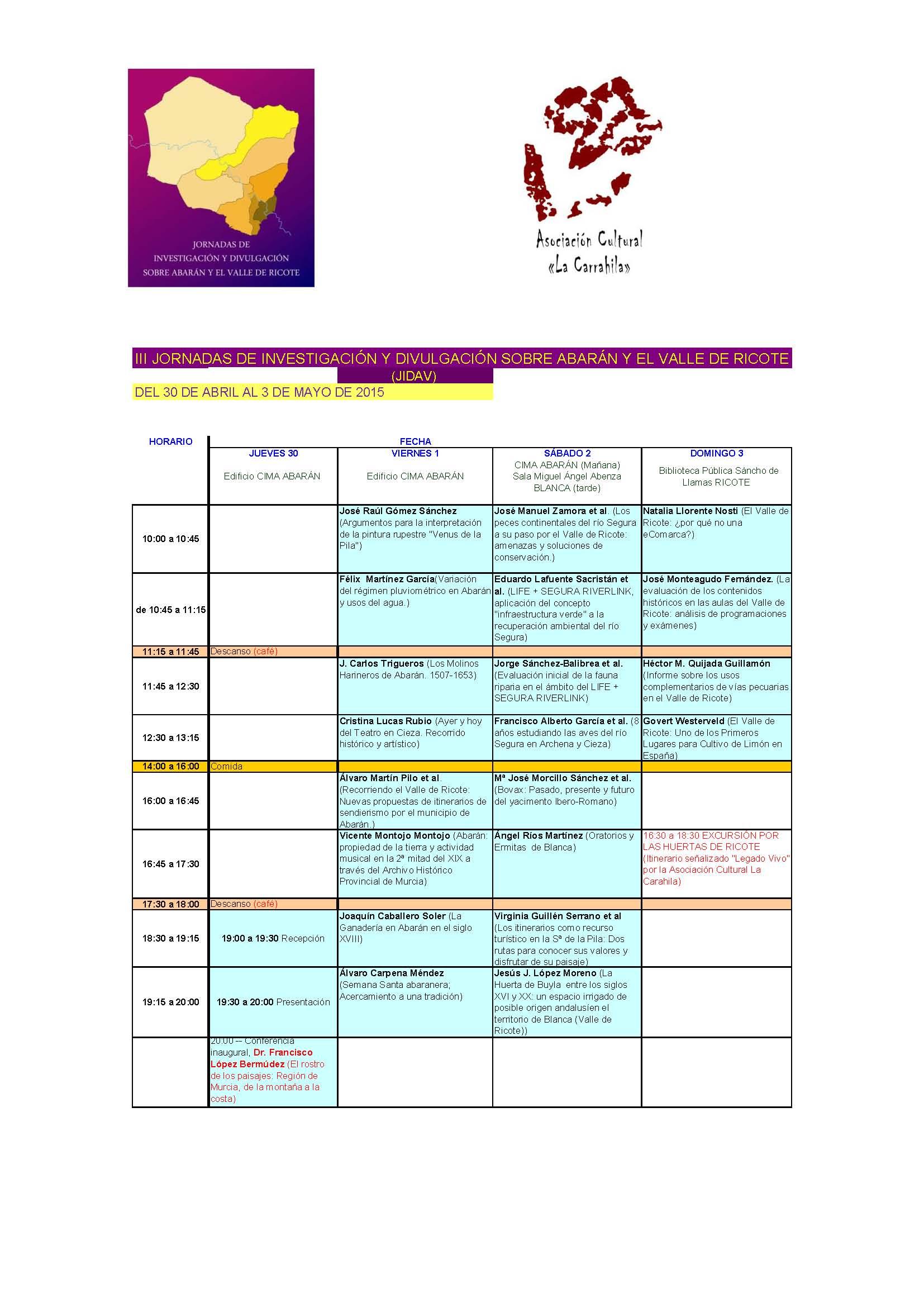 III Jornadas de Investigación y Divulgación sobre Abarán y el Valle de Ricote