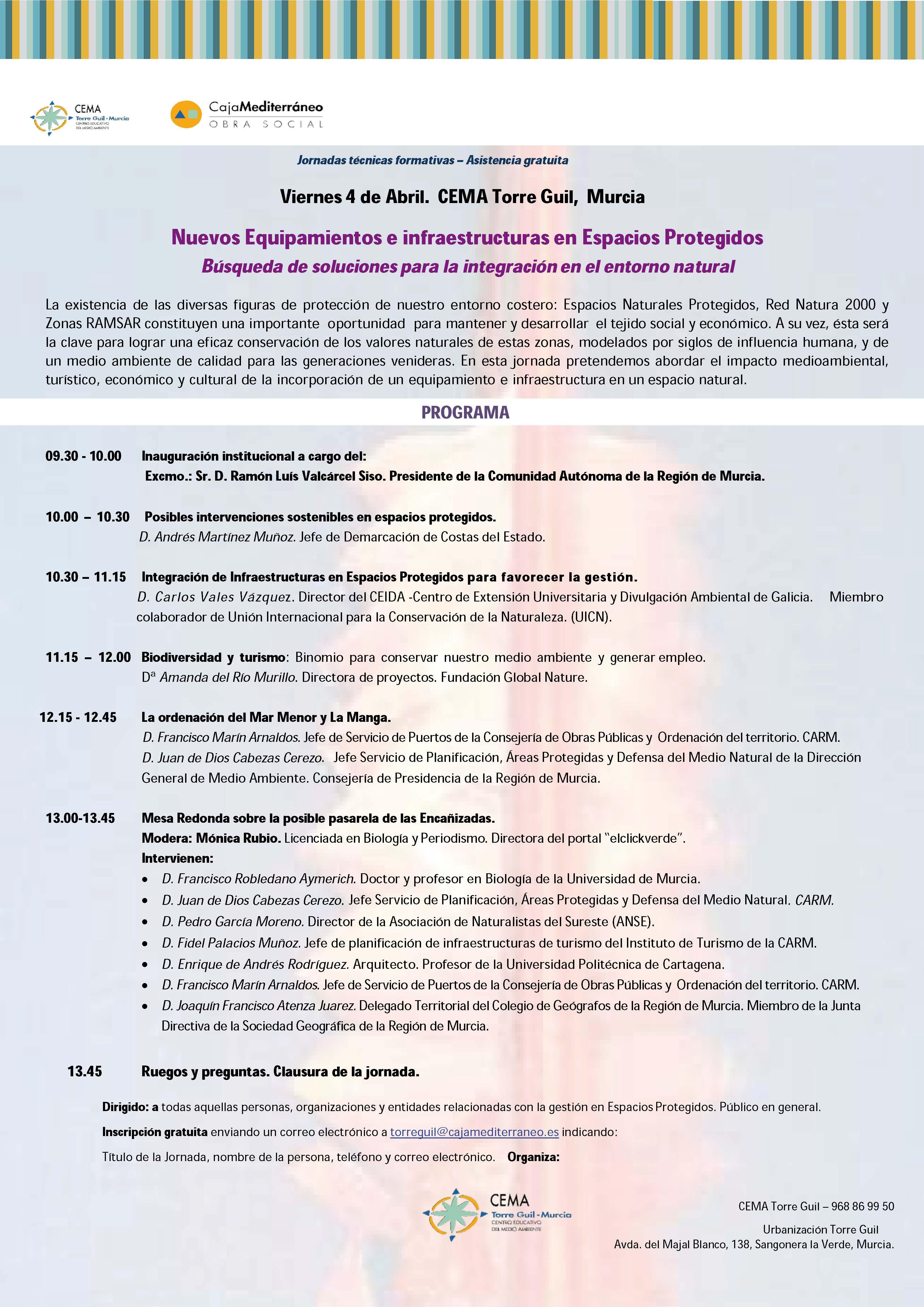 Programa de las Jornadas sobre Infraestructuras en Espacios Protegidos