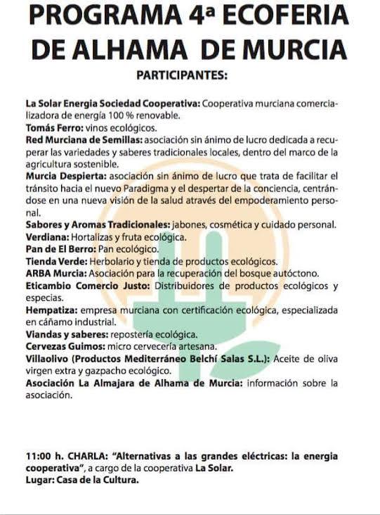 Programa de la 4ª Ecoferia de Alhama, con Almajara Alhama de Murcia