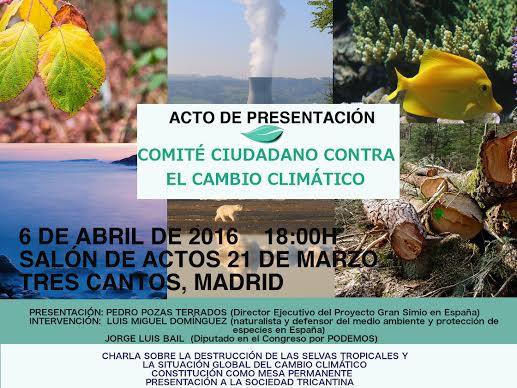 Presentación del Comité Ciudadano Contra el Cambio Climático en Tres Cantos (Madrid).