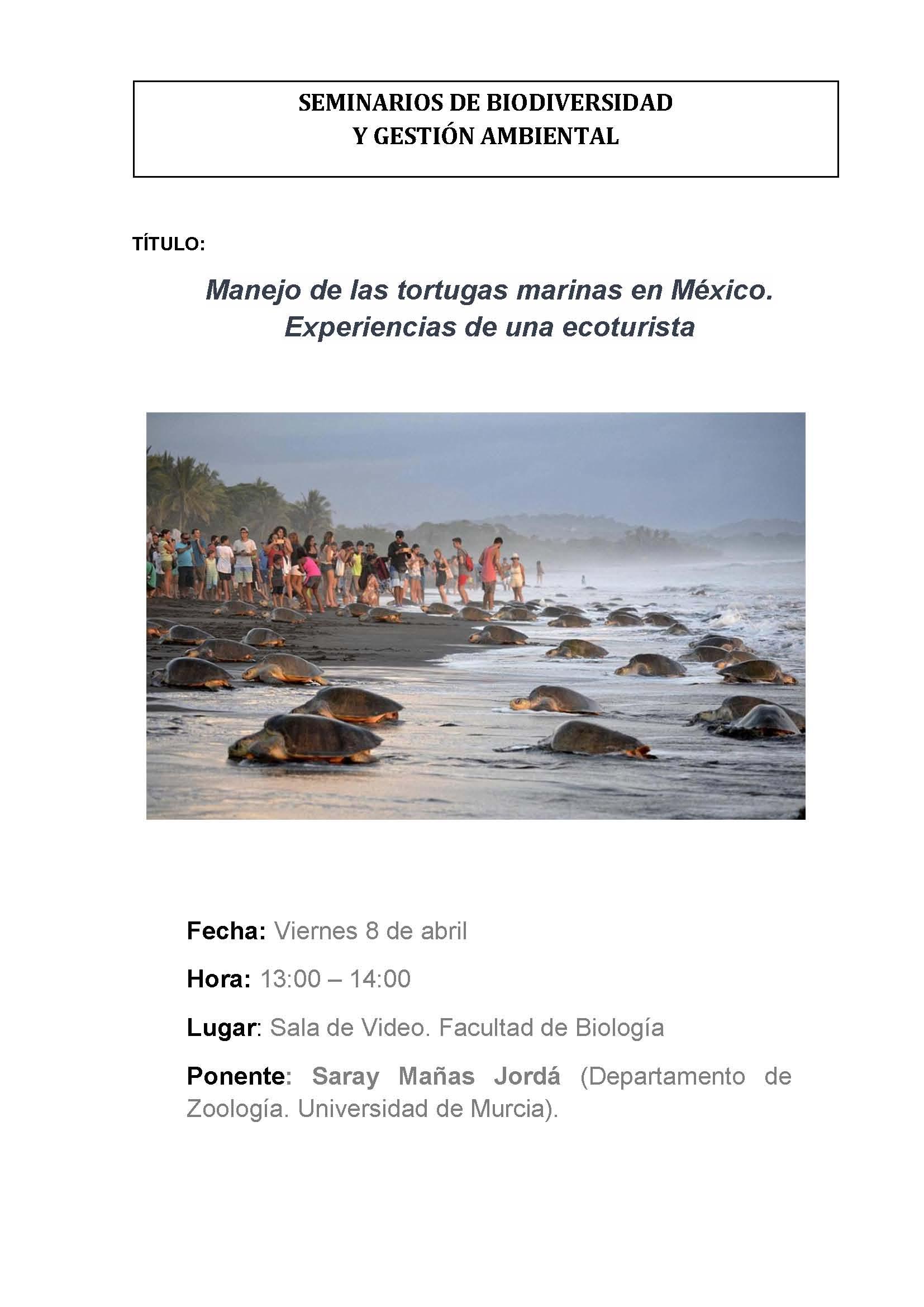 Charla sobre 'Manejo de las tortugas marinas en México', en la UMU.