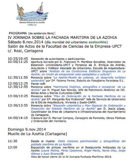 Programa de la IV Jornada sobre la Fachada Marítima de La Azohía