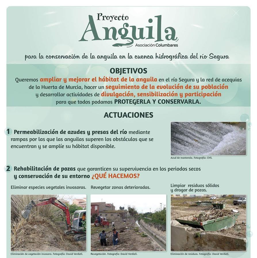 Uno de los carteles de la exposición sobre el Proyecto Anguila