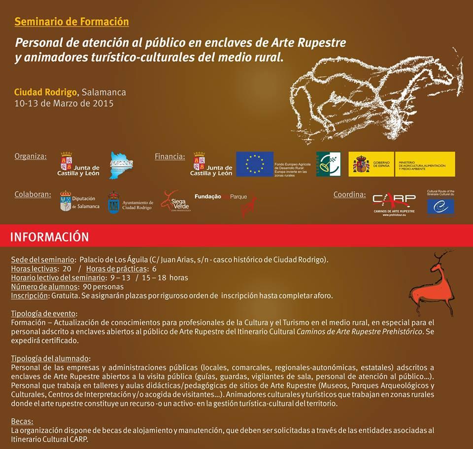 Cartel del Seminario de Formación en Atención al Público sobre Arte Rupestre